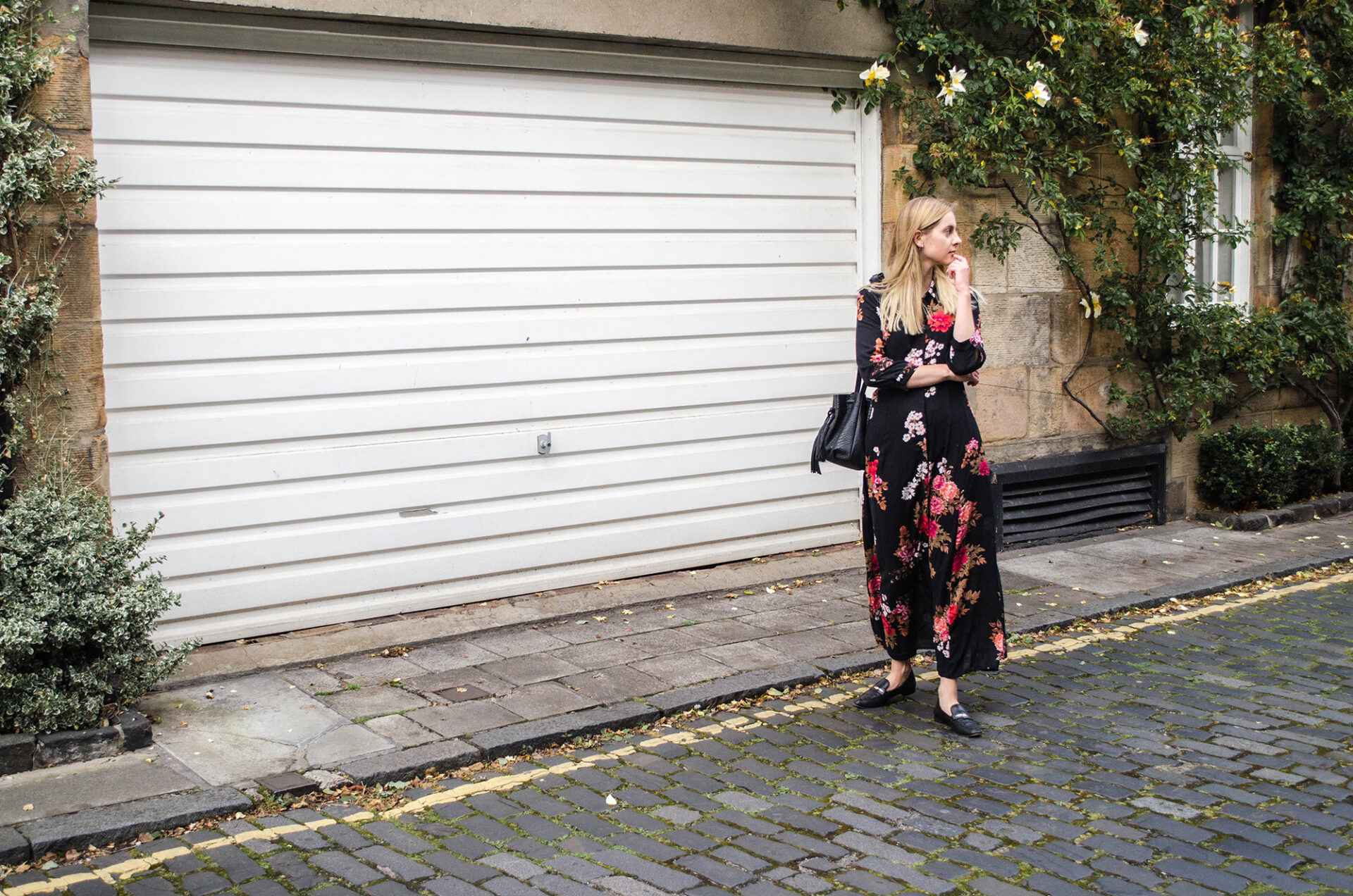 Girl with Chylak bag and floral maxi dress